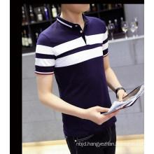 Short Slessless Hight Collar Splicing T-Shirt
