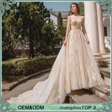 Heavy Perlen schiere Ausschnitt Kathedrale Zug Ballkleid Brautkleid für Braut