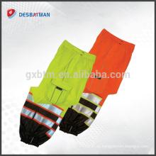 Hi Vis Safety Reflective Work Cool Pants Pantalones, Orange Yellow Pants 2 bandas reflectantes EN471 con bolsillos