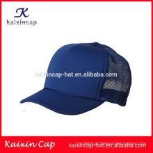 em branco simples cor azul profundo curvado 5 painel personalizado atacado venda quente chapéu do camionista