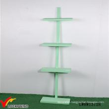 Nice Green Paint 4 Tiered Free Standing Wooden Floor Shelf