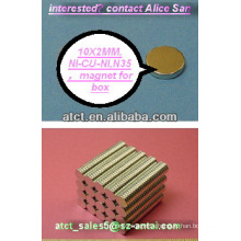 Sintered neodymium disc magnets N35 10x2mm, magnetizer, permanent magnet, monopole magnet