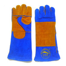 Blue Cow Leather Welding Gloves Industry Protective Working Safety Gloves