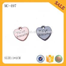 MC497 Сердце формы пользовательских ювелирных повесить тег с логотипом бренда