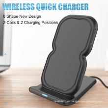 Venta caliente Qi estándar cargador inalámbrico pantalla del soporte del teléfono plataforma de acoplamiento de pie de carga inalámbrica para iPhone 8 samsung S8