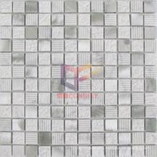 White Marble Mix Silver Aluminium Mosaic Tiles (CFA74)