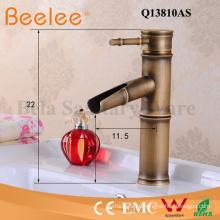 Grifo de cobre antiguo cepillado bambú forma única manija baño cuenca grifo mezclador