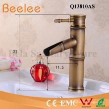Robinet en cuivre antique brossé forme en bambou mitigeur salle de bain lavabo mélangeur