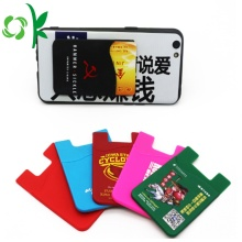 Adhesive Printed Cell Phone Sticker Silicone Card Holder