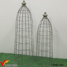 Conjunto 2 Tall rústico Grey Metal Wire Mesh Dome para plantadores