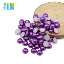 Faux Plastic ABS Pearls Flat Loose Pearls Beads For Jewelry Making, Z47-Dark Purple