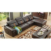 Sofá de couro de cor marrom escuro, móveis de casa de apoio de cabeça ajustável (M221)