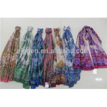 In Stock Polyester Scarf with Flower Print