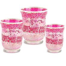 Porte-bougie en verre mosaïque rose