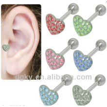 Surgical Steel Jeweled Heart Labret Cartilage Tragus Earring