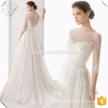 Alibaba Suzhou fábrica elegante vestidos de noiva com pérolas vestido de noiva aberto de manga comprida nupcial