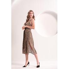 Slip Midi-Kleid mit Leopardenmuster