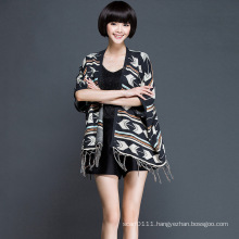 Women Fashion Acrylic Knitted Fringe Cardigan (YKY2060)
