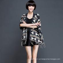 Mulheres moda acrílico de malha franja cardigan (yky2060)
