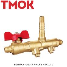 Válvula de gás horizontal nickle latão DN10