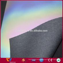 Alta visibilidade 0.8mm Iridescent couro sintético reflexivo PU para sapatos