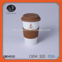 Porzellan-Reise-Kaffeetasse, Werbegeschenk-Becher mit Silikon-Deckel, Keramik-Tasse