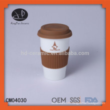porcelain travel coffee mug,promotional gift mug with silicon lid,ceramic cup