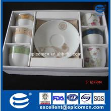 ceramic 6pcs cups and 6pcs saucers in PVC color box wholesale