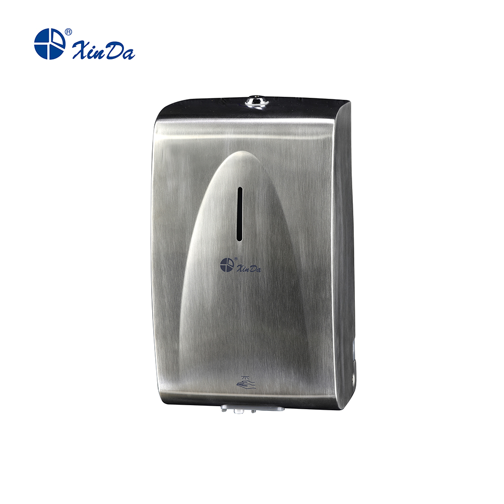 Large capacity soap dispenser with brushed shell