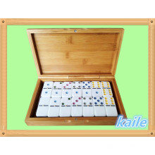 Double 6 colorful domino packed in bamboo box