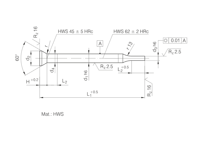 HWS Material Stepped Punches with Conical Head