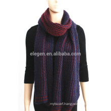 Wine and Navy Knitted Acrylic Scarf