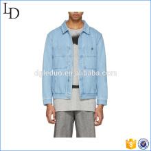 Two pocket on chest blue spring denim jean jacket mens washed jacket