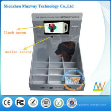 7 inch LCD screen cardboard advertising floor display with motion sensor
