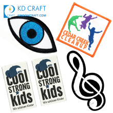 Free sample custom twill textile evil eye sew on iron on music patch kids dance music note logo patches for clothes