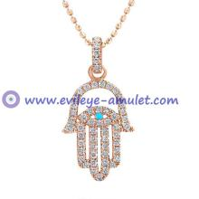 Rose Gold Diamond Hamsa Evil Eye Necklace