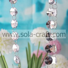Lucite Wholesale Decorative Round Clear Crystal Looking Acrylic Bead Garland Strand For Party Wedding and Holiday Decorations