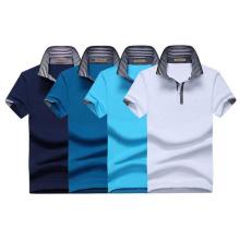 Camiseta única del polo de Spandex del algodón 180GSM 97 de la tela del jersey del bordado 3D de los hombres sola