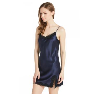 19 Momme сексуальная шелковая ночная рубашка с кружевной пижамой с круглым вырезом на тонких бретельках сорочка ночная рубашка