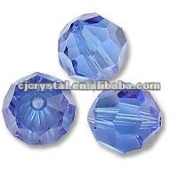 Blaue runde Kristallglasperlen