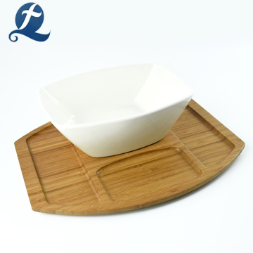 Bamboo Kitchenware White Ceramics Salad Bowl