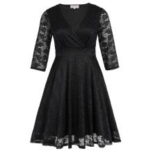 Hanna Nikole Womens Plus Size Three Quarter Length Sleeve V-Neck Black Lace Summer Dress HN0022-1