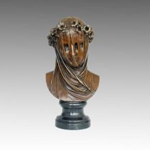 Büsten Bronze Skulptur Blume weiblich Handwerk Dekor Messing Statue TPE-588