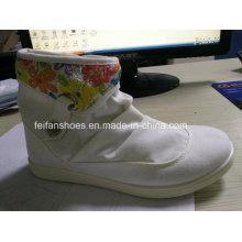 Дешевые дамы Повседневная инъекции обувь среднего вырезать холст обувь акции (FF329-8)