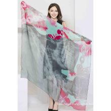 100%Digital Printed Silk Chiffon Scarf Ladies Fashion Silk Square Shawl