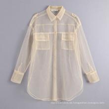 Langarm weiß durchsichtiges Hemd Blusen Top