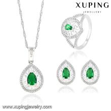 63833 moda de lujo en forma de corazón CZ diamante rodio conjunto de joyas de imitación real para el banquete de boda