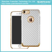 Caso de cobertura de telefone de fibra de carbono de PC de luxo banhado a ouro para iPhone 7 7plus