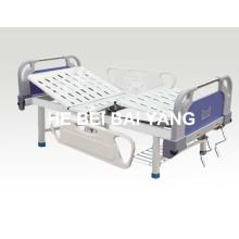 (A-77) - Cama de hospital manual de função dupla com cabeça de cama ABS