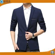Blazer de coton des hommes de veste occasionnelle de mode d'usine d'OEM